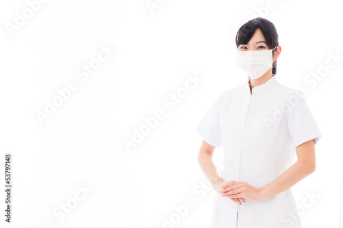 attractive asian nurse on white background