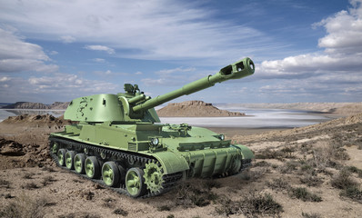 Soviet self-propelled howitzer divisional in desert landscape