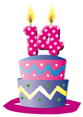 Geburtstagstorte, Karte, ,Jubilaeum, Kerzen, Zahlen, Fest, Party