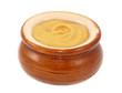 Dijon mustard served in a small ceramic pot