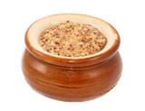 Wholegrain mustard served in a small ceramic pot