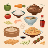 Chinese food. Objects set