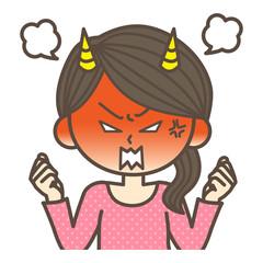鬼のように怒る女性