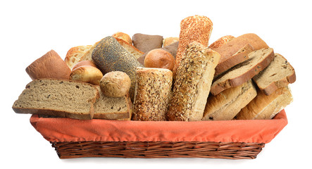 Assortment of bread in basket isolated on white background