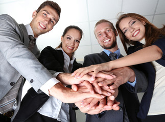 Business team working together in office close up