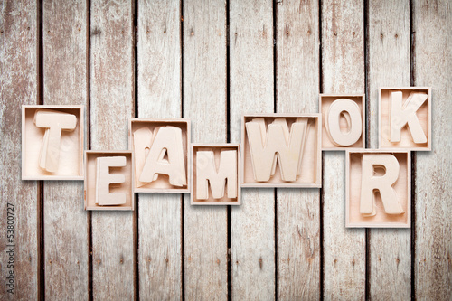 teamwork wood word style