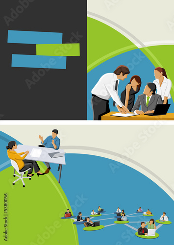 Green and blue template for brochure with business people