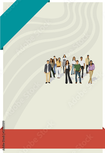 Red and blue template for brochure with business people
