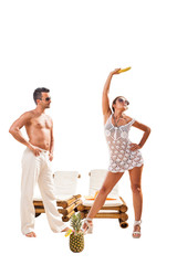 Summer photo of a couple wearing beachwear