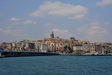 Galat Tower and ferryboat in Istanbul-Karakoy-Galata kulesi
