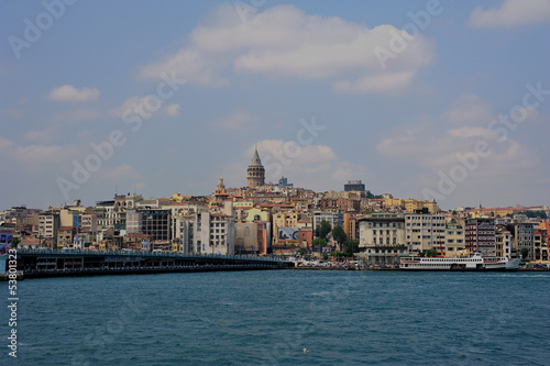 Galat Tower and ferryboat in Istanbul-Karakoy-Galata kulesi