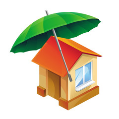 Vector house icon and umbrella