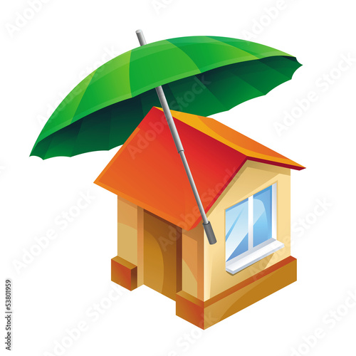Vector house icon and umbrella