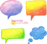 Vector bright watercolor pencils speech bubbles