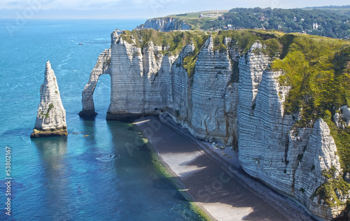 Chalk cliffs at Cote d'Albatre. Etretat