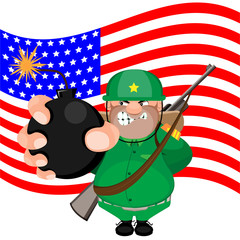 a man soldier with flag background