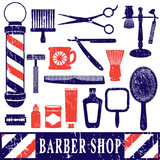 Fototapety Vintage barber shop tools silhouette icons set 3