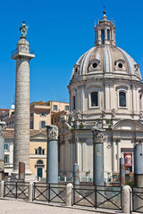 Rome - Trajan's Column with church of SS. name of Maria