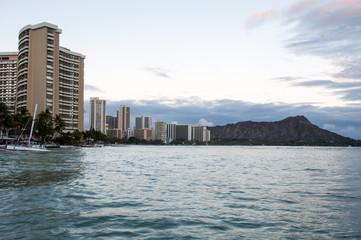 Famous Waikiki Beach at dusk.