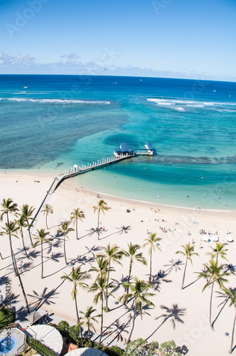Famous Waikiki Beach on the Hawaiian island of Oahu.