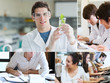 Collage of students doing chemistry
