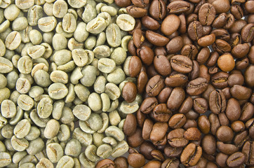 Coffee beans raw and toasted close up on the white