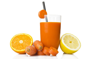 ace juice, orange, carrot and lemon on white