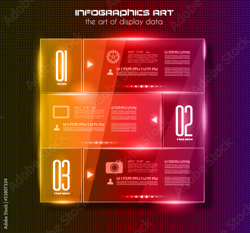 Infographic design template with glass surfaces.and spotlights