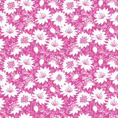 Vector pink and white floral silhouettes seamless pattern
