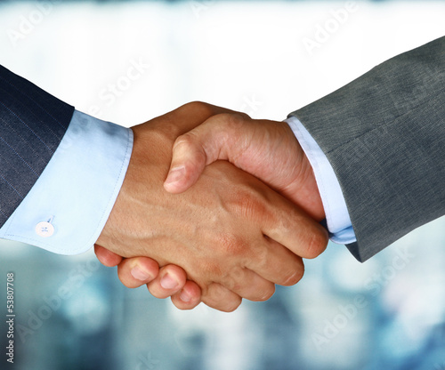 canvas print picture Closeup of a business hand shake between two colleagues