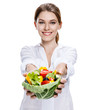 merry european woman & vegetable salad - isolated