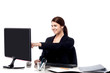 Female staff pointing at monitor screen