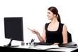 Female assistant at her work desk