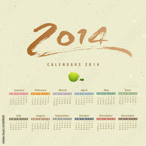 Calendar 2014 text paint brush on paper recycle background
