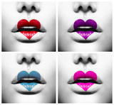 Collage of Beauty Sexy Lips with Colorful Heart Shape paint