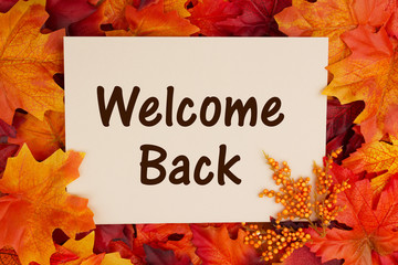 Welcome Back card with fall leaves