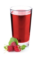 ripe raspberry with green leaf and in juice