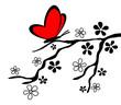 Ast Schmetterling Herz Silhouette