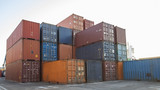 stacks of cargo container at port