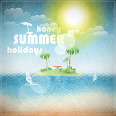 Honey summer holidays eps10 vector illustration