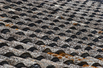 Roof covered with old tiles, detail as background
