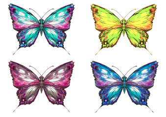 Butterfly set watercolor painted