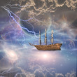Sailing ship with full sails in fantastic scene