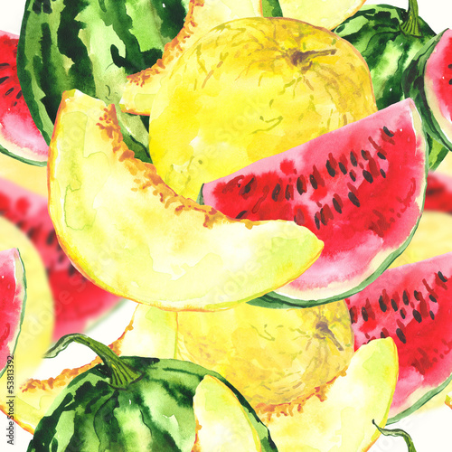 Watercolor seamless background with melon and watermelon