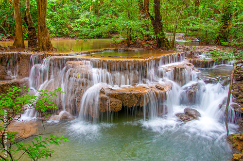 Waterfall in deep rain forest jungle (Huay Mae Kamin Waterfall