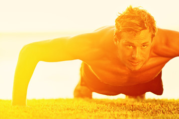 Sport fitness man push-ups