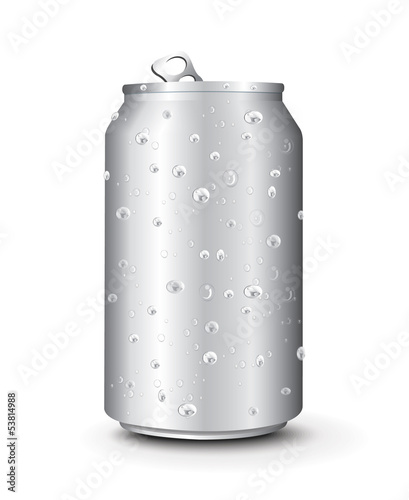 Aluminum Cans Template With Drops Water