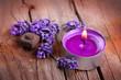 canvas print picture - Lavendel und Duftkerze auf rustikalem Holzuntergrund