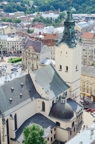 View of Lviv City Hall tower and Archcathedral Basilica