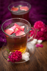 hot tea of rose petals